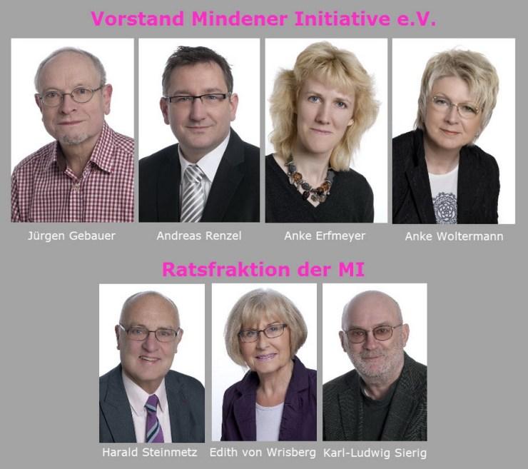 Der wiedergewählte Vorstand der Mindener Initiative und die Mitglieder der Ratsfraktion der MI. Foto: MI