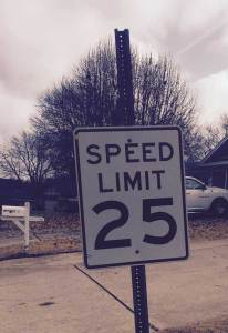 An image of a 25 mph speed-limit sign in a residental area on a cloudy day.