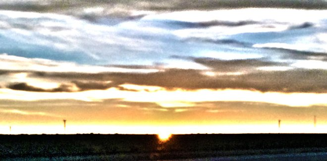 Surreal picture of a sunset on the New Mexico horizon.