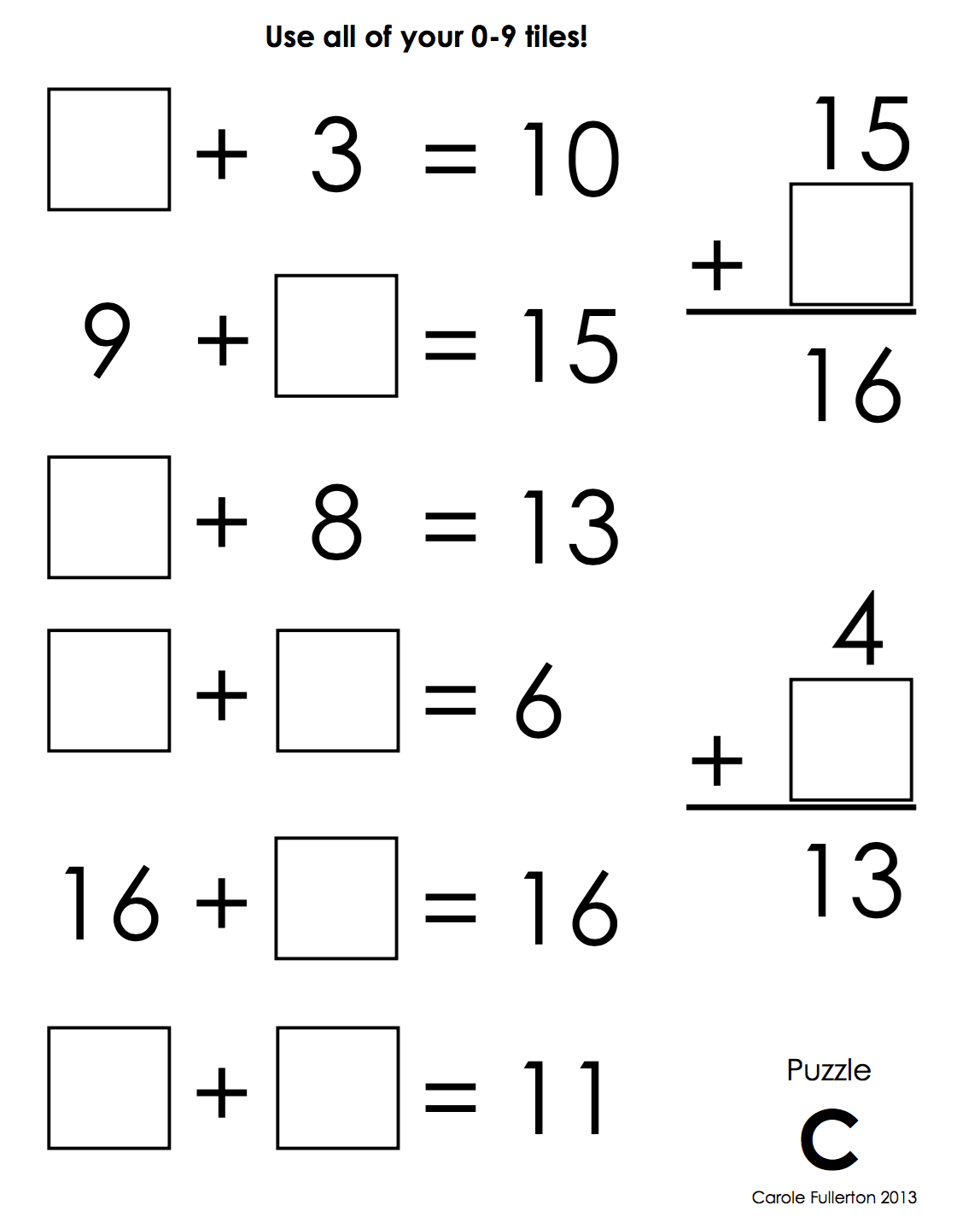 Number Tile Puzzles