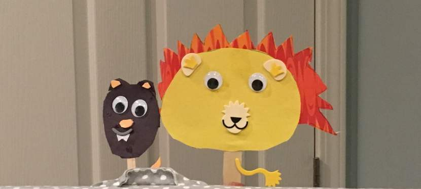 A Homemade Puppet Show: The Lion & the Mouse