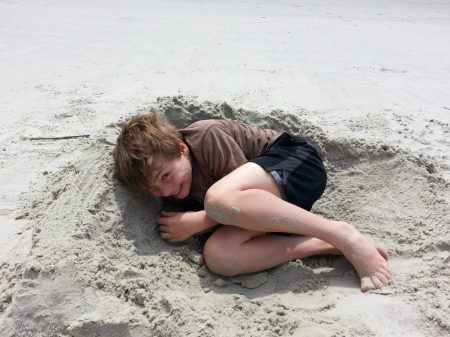 Playing in sand - St. Simons beach www.mindfulmomma.com