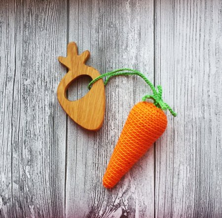 Carrot teething toy and other candy free Easter gifts