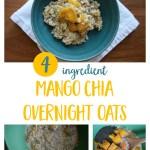 Easy, kid-friendly overnight oats recipe using frozen mango, chia seeds, almond milk and rolled oats. | Healthy breakfast recipe
