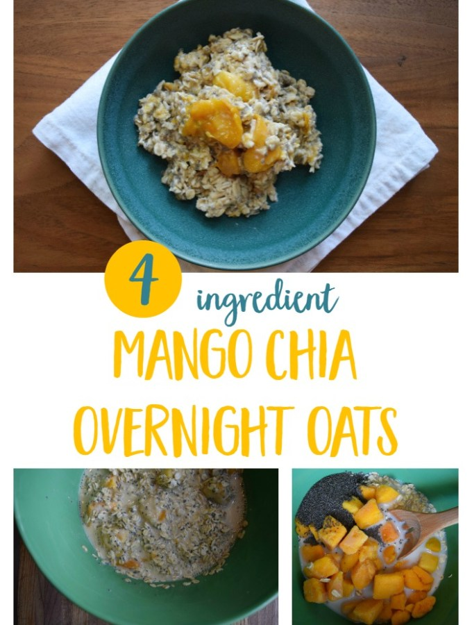 Easy, kid-friendly overnight oats recipe using frozen mango, chia seeds, almond milk and rolled oats. | Healthy breakfast recipe