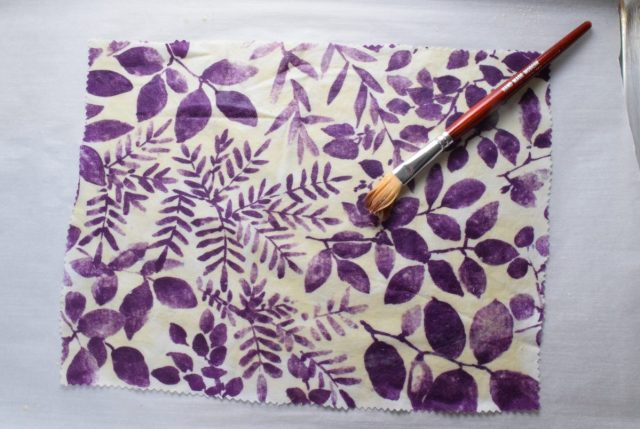 DIY Beeswax Wraps - beeswax melted on cloth with brush