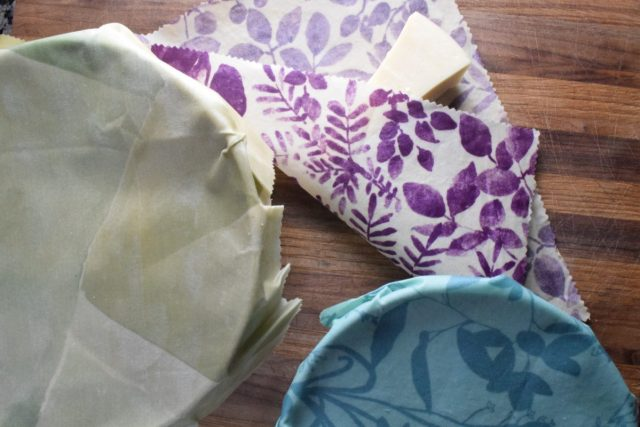 DIY Beeswax Wraps - wraps on bowls and with cheese