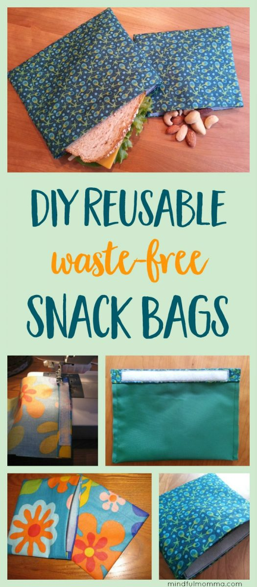 Learn how to make reusable DIY snack & sandwich bags for waste-free lunches and on-the-go snacking - with this easy sewing tutorial. | reusable lunch gear | #zerowaste #reusable #lunchgear #sewing #DIY via @MindfulMomma