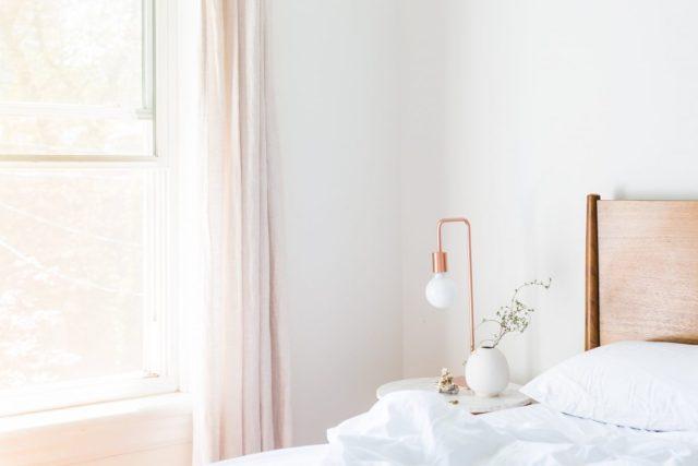 Bedroom with bed window open