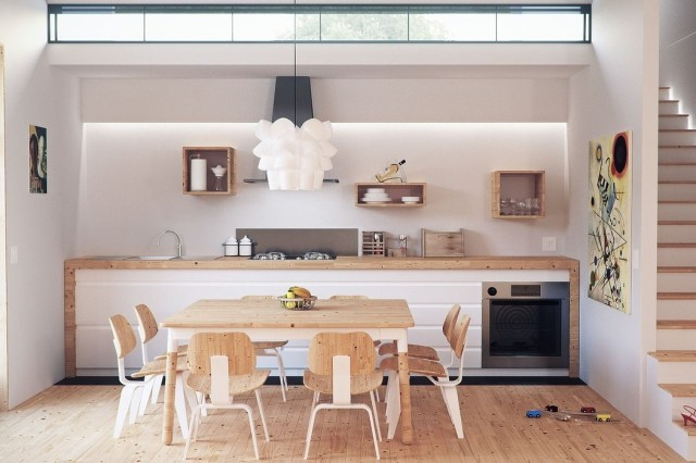 modern kitchen with table