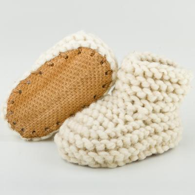 Wool & leather baby slippers