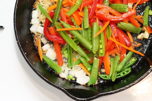 vegetables in a non-stick cast iron pan