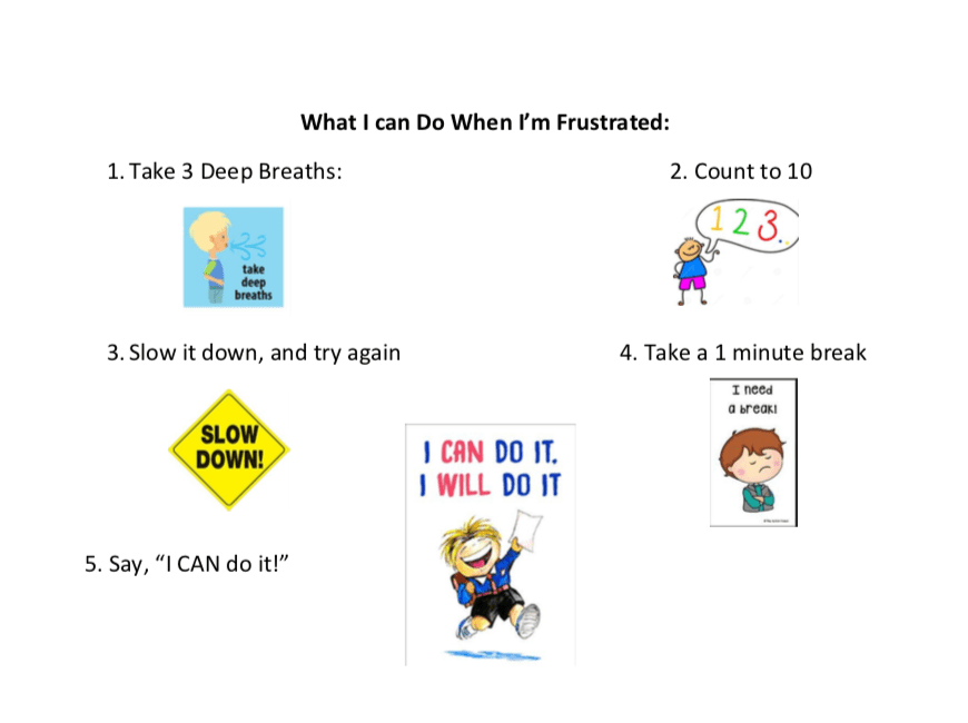 What students can do when they become frustrated in practice or a lesson.