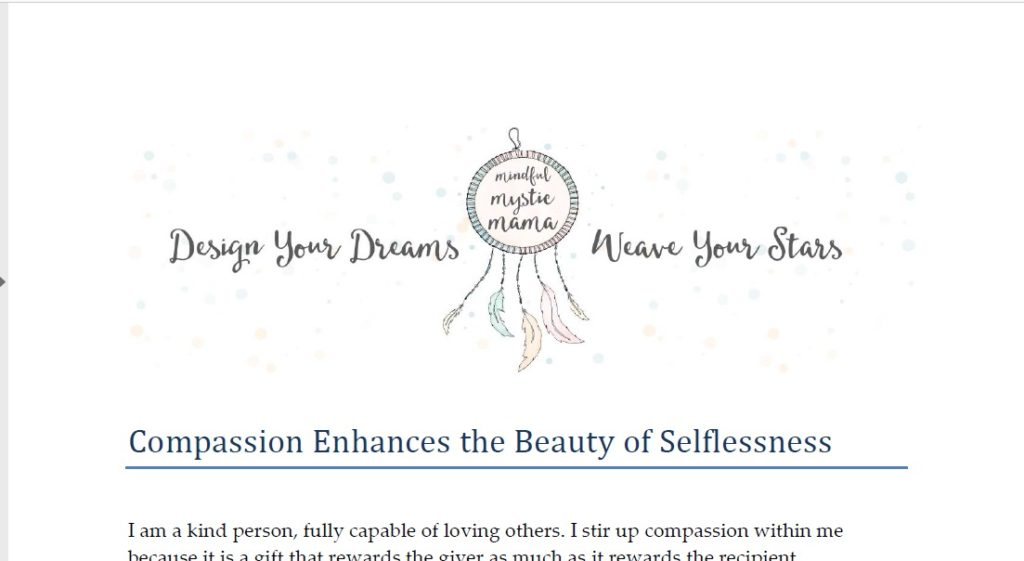 Compassion and Selflessness Free Printable