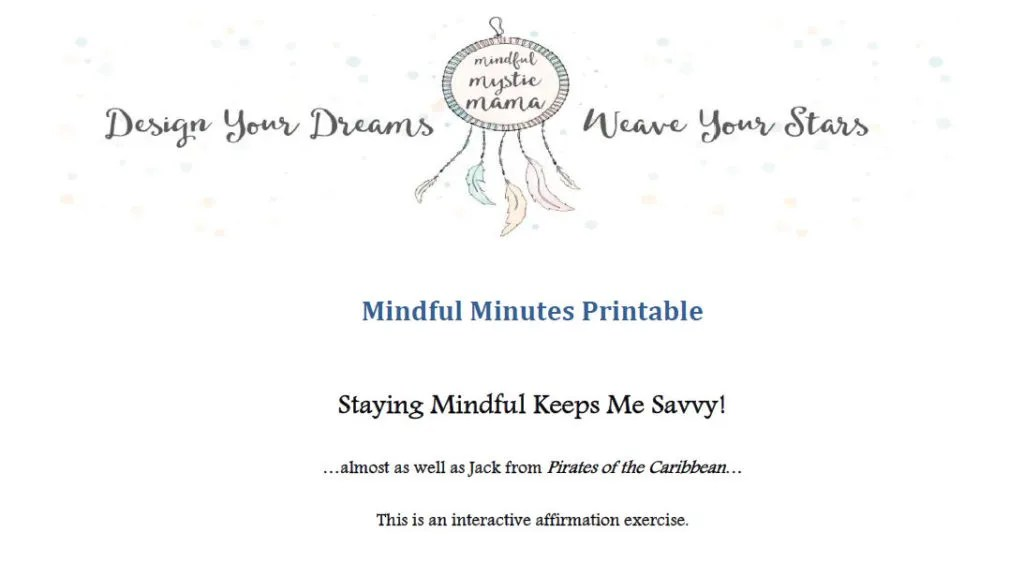 mindful and savvy printable