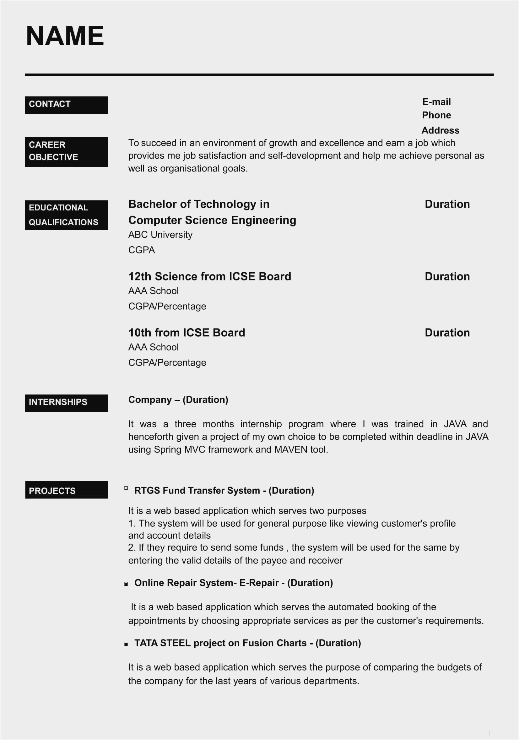 Resume format Pdf Download for Freshers India