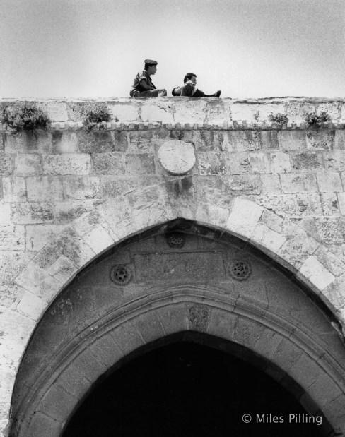 Israeli army conscripts, Damascus Gate, Jerusalem, 1990