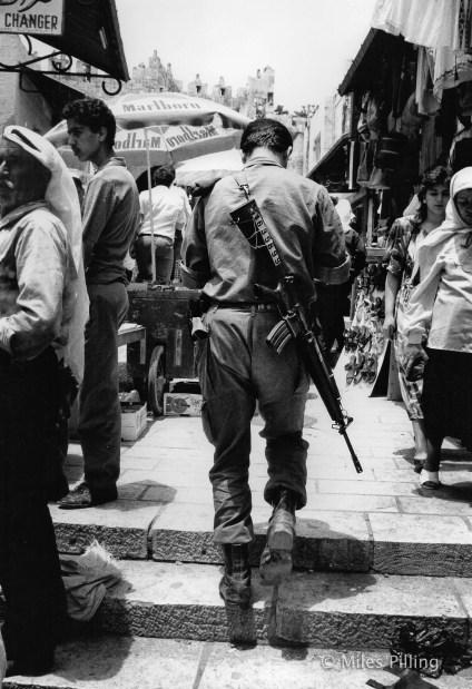 Israeli army conscript near Damascus Gate, Jerusalem, 1990