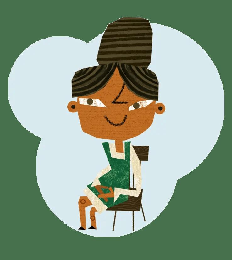 teacher in a chair