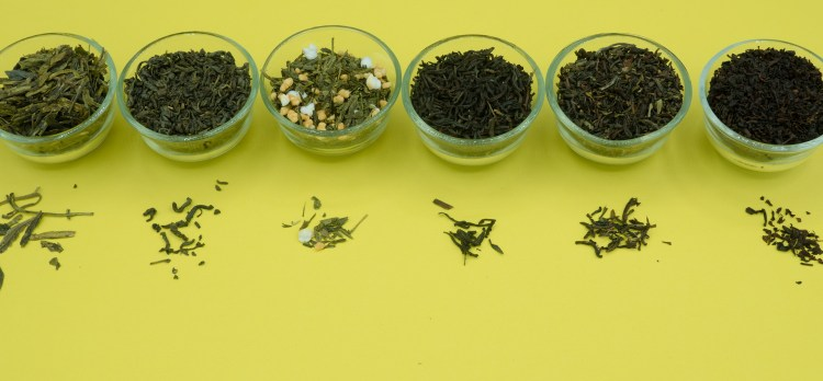 A selection of green teas and black teas, that may help with anxiety and stress.