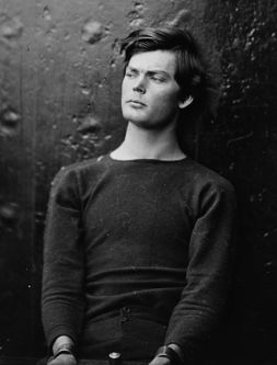 Lewis Powell (AKA Lewis Payne) at the Washington Navy Yard, District of Columbia. Lewis Payne in sweater, seated and manacled. Payne attempted to assassinate U.S. Secretary of State William Seward Date 1865