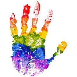 A handprint in rainbow paint colours