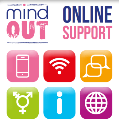 Mind Out Online Support featuring six small different colour images representing technology and information as well as a transgender symbol