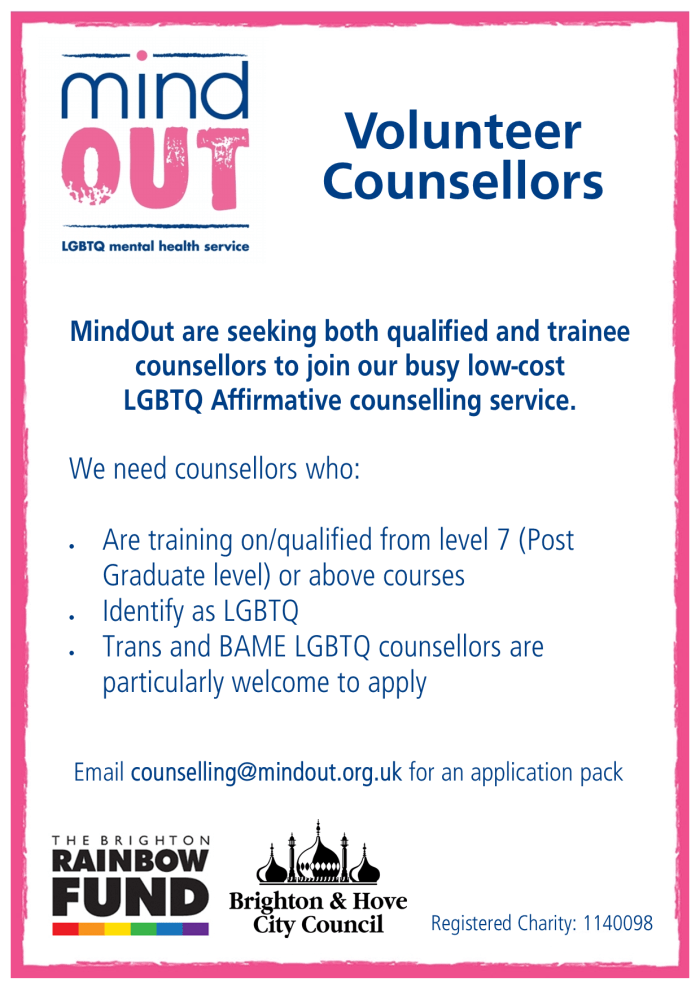 Image has a pink border, and features the MindOut logo. It gives details of the volunteer vacancy, and includes details of the post. There is a paragraph of text in the centre describing what kind of experience and qualities are required for the post. Bottom of the image includes the MindOut charity number and the rainbow fund and brighton and hove city councils logos.