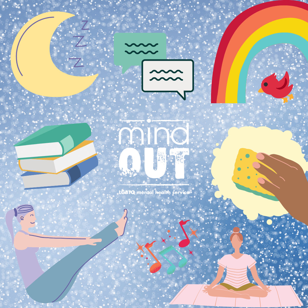 blue background with white speckles like snow, and graphics of a people doing yoga, a pile of books, a crescent moon, two speech bubbles, a rainbow, a hand cleaning, some musical notes, surrounding a white version of the mindout logo