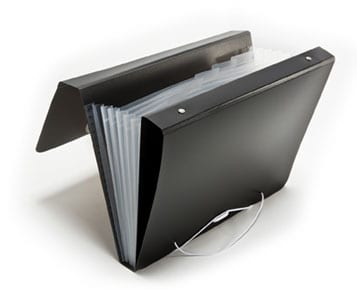 Black 3 ring binder with attached accordian file