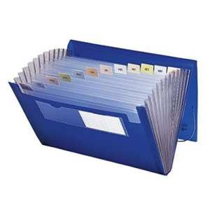 Blue accordian file with clear sections for papers