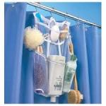 Shower organizer that hooks on the shower bar