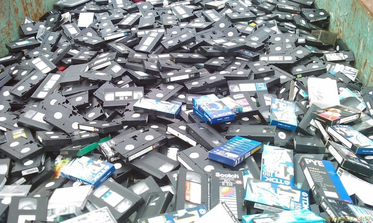 pile of VHS tapes