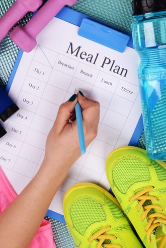 blue clipboard with a piece of paper titled Meal Plan