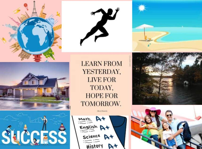 Raising Resilient Kids - Easy Goal Setting and Vision Board for Kids. Keeping goals in plain sight and turning dreams into reality. #resilientkids #visionboard #visionboardforkids #parenting #dreamstoreality #kids #family #raisingresilientkids #discipline #positivethinking #withgoalinmind #mindoverlatte