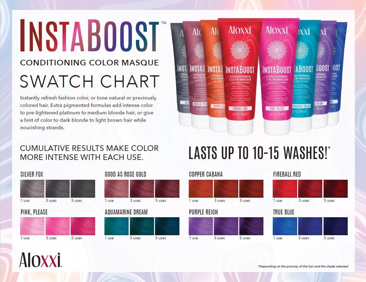 Aloxxi Instaboost Shades Color Range Chart