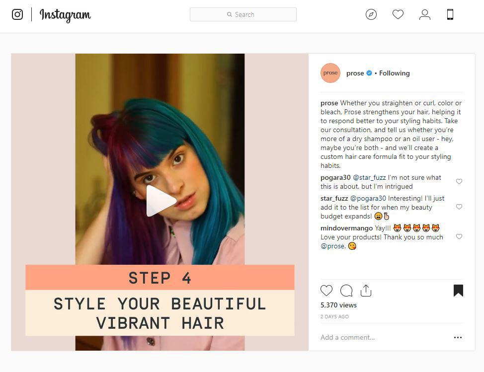 Prose Hair Care Press Instagram Ad