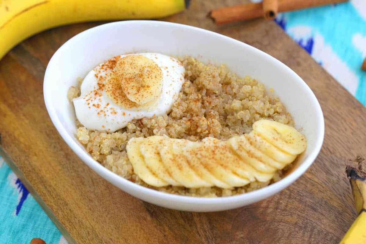 microwave quinoa breakfast bowl
