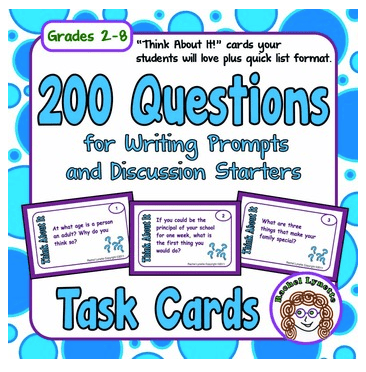 200 Questions for Writing Prompts and Discussion Starters Task Cards