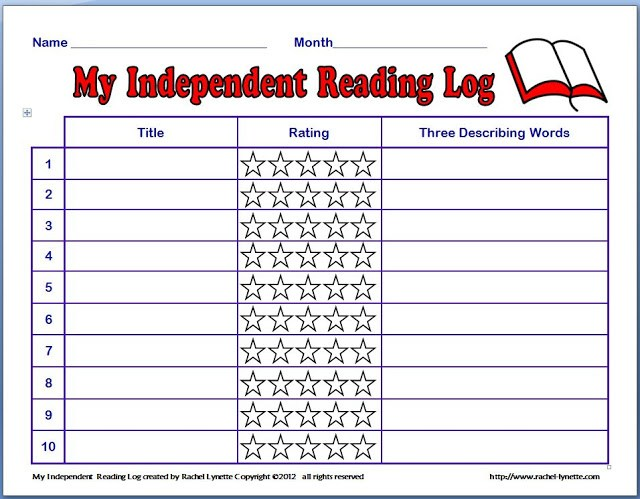 Free Monthly Independent Reading Log
