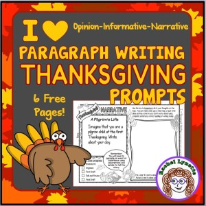 I Heart Paragraph Writing Thanksgiving Prompts