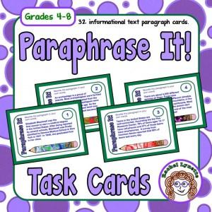 Paraphrase It Task Cards for Grades 4-8