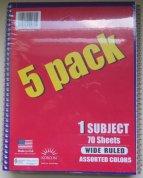 5 Pack Spiral Bound Notebooks