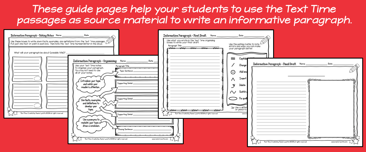 Guides for using text time passages for informative paragraphs