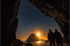 My brother Seth and I watch the crescent moon set outside of this hidden cave near Camel Rock, Humboldt County, California. September 13, 2018.