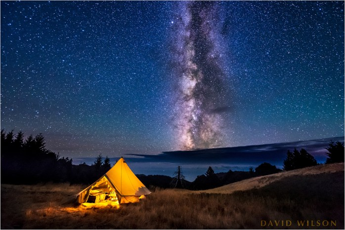 Camping beneath the Milky Way on Paradise Ridge, Lost Coast, Humboldt County, California. September 21, 2017.