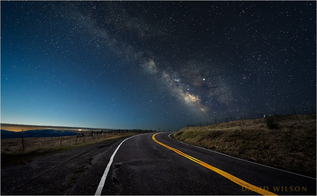 Dawn's early light chases the Milky Way over the Kneeland Road