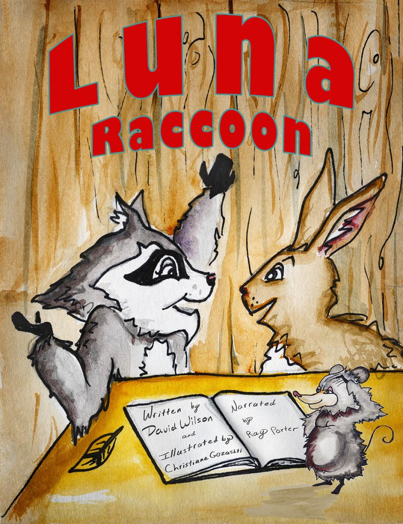 Cover for Luna Raccoon children's story, available only for iPad.