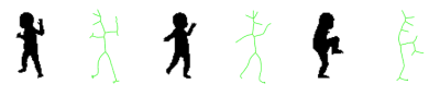 Figure 7. The medial axis structure of three human silhouettes. Note that in most cases the intuitive parts (arms, torso, and legs) correspond to distinct axis branches. Source: Kimia (2003).