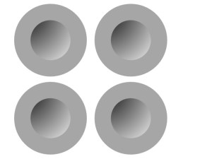 Figure 2: Shaded dots typically seen as concave. Based on Ramachandran 1988.